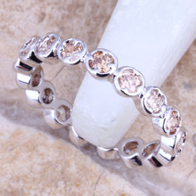 Unusual Champagne Morganite 925 Sterling Silver   Grade Ring Size 4 / 5 / 6 / 7 / 8 / 9 R1625