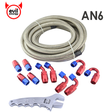 evil energy AN6 Oil Fuel Hose 5Meter Braided Stainless Steel Racing Hose Line+AN6 Oil Fuel Fittings Hose End Oil Cooler+Spanner(China)