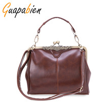 Guapabien Vintage PU Leather Women Bags Lady Messenger Crossbody Bag Women Casual Style Tote Retro Shoulder Bag Ladies Soft Bags