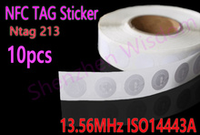 10pcs/Lot NFC Tags Sticker 13.56MHz ISO14443A Ntag 213 NFC Stickers Universal Lable Ntag213 RFID Tag for all NFC enabled phones(China)