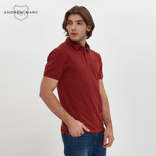 ANDREWMARC Summer Men Polo Slim Shirt Solid Color 100% Cotton Leisure Business Turn Downing Collar TM7GP073