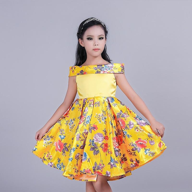 2017 Yellow Childrens Girl Dress Printing Dress Princess Childrens Garment Christmas Gift<br><br>Aliexpress