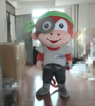 100% in-kind shooting monkey with a green hat mascot costume monkey costume for adults Holiday special clothing(China)