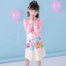 Spring Autumn Big girls Nightgown Pajamas kids long sleeved nightdress cute cartoon child female baby sleeping dress 2-12 T QW15(China)