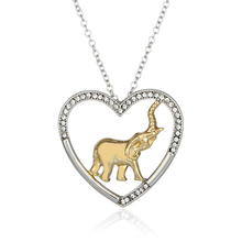 Fashion New jewelry plated white K Elephant in Heart Shape Necklace Pendant Necklace For Women Girl Mom Gifts Lucky Charms