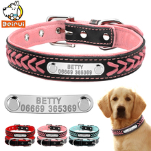 Customized Dog Collars Adjustable Padded Leather Personalized Pet Name ID Collar Free Engraving For Small Medium Large Dogs Cats(China)