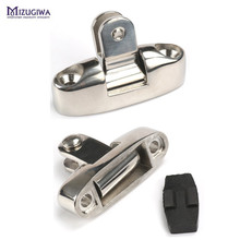 Mizugiwa 2Pcs/lot 316 Marine SS Boat Bimini Top Side Mount 150 Degree Swivel Deck Hinge With Rubber Pad Fittings Hardware(China)
