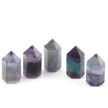 2015 Good quality jewelry low price height 3.5cm thickness 1.5cm Natural green Fluorite QUARTZ crystal point pillar 5pcs/lot(China)
