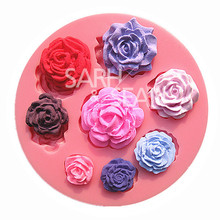 M0568 Eight different pattern and size roses flower fondant cake molds soap chocolate mould for the kitchen baking