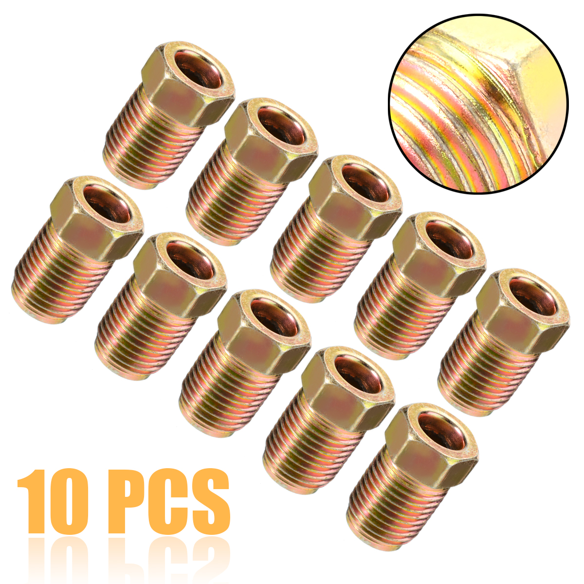 20 x Steel Female Brake Pipe Tube Tubing Nut For 3//16 Pipe 10mm x 1mm Thread