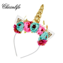 Chicinlife 1Pcs Unicorn Horn Headband Birthday Party Hat Crown Baby Shower New year Photo Props party decoration supplies(China)