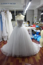 Buy Princess Crystal Ball Gown Lace Wedding Dress 2018 Sweetheart Corset Bodice Beads White Tulle Court Train Bridal Dress for $114.68 in AliExpress store