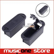 CHEAP Quality 9V Battery Box 81.5MM*29.5MM Case for Active Guitar and Bass Pickup platic black color Free shipping