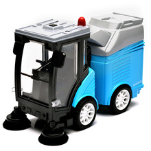 KAIWEI alloy road sweeper Sanitation garbage disposal streetcar Toys Die-cast Clean Car Models with sound and light Chidren gift