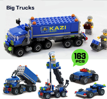 163pcs Building Blocks Shop Truck Goods Van Project Series DIY Toys Children Birthday Present Intelligence Creative Plaything