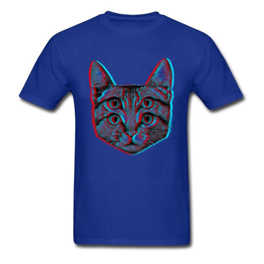 3D Cat Summer/Fall 100% Cotton O-Neck Tops T Shirt Short Sleeve Casual T Shirt 2018 New Funny T Shirt Free Shipping 3D Cat blue