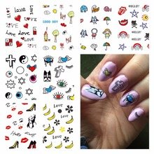 WUF 1 Sheet Optional Beauty Nails Harajuku Designs Nail Art Water Decals Floral Transfer Stickers For DIY Nails Art(China)