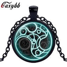Caxybb brand Doctor Who necklace Round Glass Necklace Doctor Who Time Lord Seal Pendant Time Lord Gallifreyan Steampunk Necklace(China)