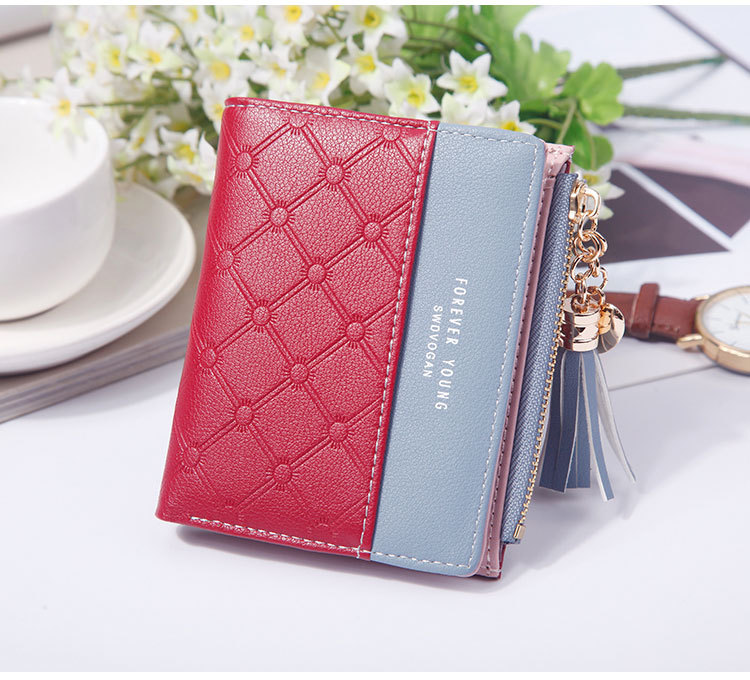 2018 Fashion Ladies Wallet Female Short Zipper Coin Purse Small Wallets Young Womens Tassel Hasp Purses Button Card Holder Pouch 81