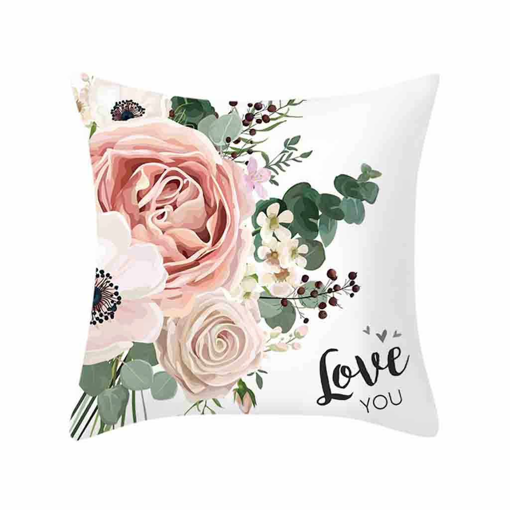 Gajjar Throw Pillowcases Rose Pattern Printed Cushion Cover Square Sofa Pillow Case Flower Cushion 45cm x 45cm Home Art Decor 03