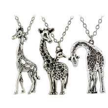 "Trusta New DIY Women Jewelry Vintage Silver Mother's Love Giraffe Pendant Necklace 26"" For Wholesale Free Shipping ED4436"