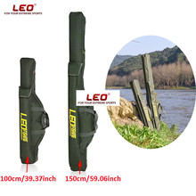 LEO 100cm 150cm Multipurpose Fishing Bags Army Green Oxford Cloth Fishing Rod Bags With Zipper Fishing Tackle Pouch Holder Bags(China)