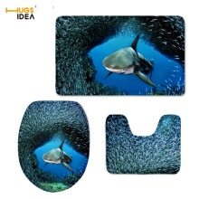 HUGSIDEA Custom 3PCS Set Bathroom Non-slip Floor Carpet 3D Cool Animal Dolphin Design Home Hotel Decor Rugs Tapis for WC Toilet