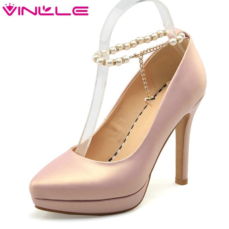 VINLLE 2017 Women Pumps Thin High Heel Pumps Pointed Toe Soft PU Wedding Women Shoes Pink Platform Spring Shoes Big Size 34-43<br>
