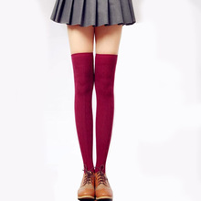 Women Over Knee socks Stockings Thigh High Pantyhose Wave Knitted long Stockings knee socks High Quality medias de mujer(China)
