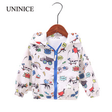 UNINICE Baby Boys Jackets 2018 New Spring Star Printing Children Outerwear Hooded Windbreaker Waterproof Kids Boy Jacket Clothes(China)