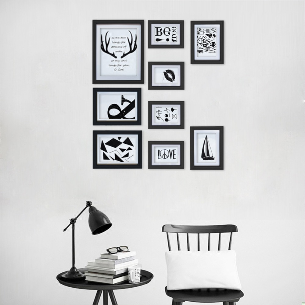 Compre Giftgarden Black Wall Picture Frame Set De 9 Piezas, Marcos ...