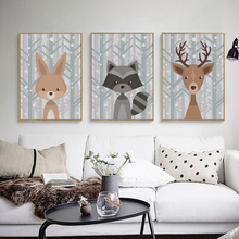Cute Animal Deer Fox Canvas Painting Cartoon Poster Picture Wall Paintings Baby Bedroom Wall Decoration Home Dceor