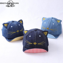 BINGYUANHAOXUAN Brand 2017 Soft Baby Baseball Caps Cat Ears Denim Baseball Cap Baby Child Sun Hat Hip Hop Kids Children's Hats
