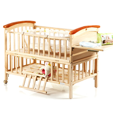 High Quality Pine Wood Baby Bed No Paint Environmental Protection Baby Crib Portable Baby Playpen Crib Soft Baby Cradle C01(China)