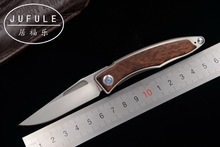 JUFULE Made Mnandi M390 Blade wood Titanium handle folding Copper washers camping Tool Pocket Survival EDC hunting kitchen knife