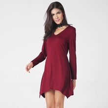 The New Special Price 2017 Hot Style Europe and The United States Women's Long Sleeve Loose V-neck Dress Spring Female Clothing(China)