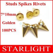 screwback spike 7*10mm Golden Rivet Studs and Spikes Punk Belt Leathercraft DIY Accessories 100pcs/lot Free Shippingstar15(China)