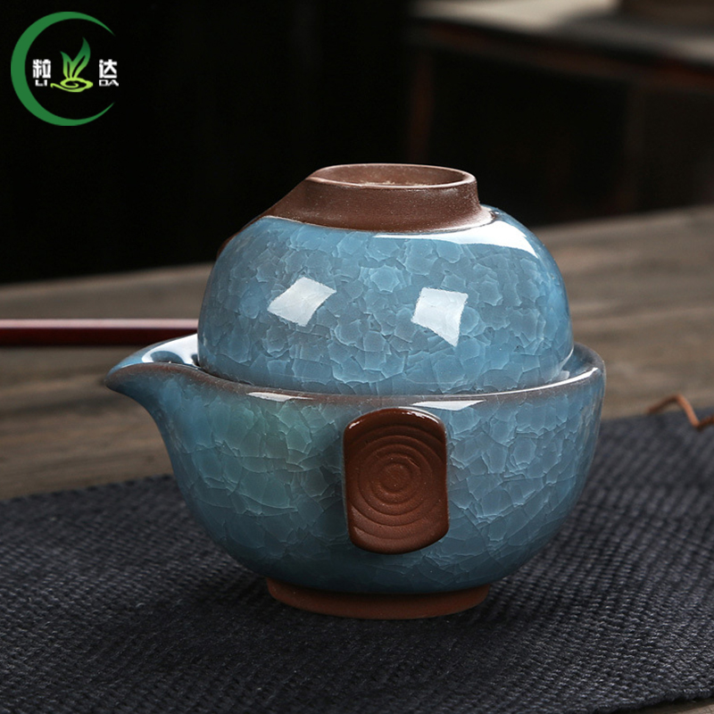 2pcs Ceramic With Cracked Ice Crackle Portable Teaset Cup