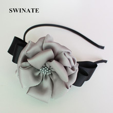 SWINATE Design Fashion Women Big Floral Hairband Double Ribbon Bows Satin Flower Headband 100% Handmade Quality Hair Accessories