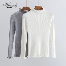 Women Sweater High Elastic Solid Turtleneck Fall Winter Fashion Sweater Women Slim tricot Bottoming Knitted Pullovers WS-149(China)