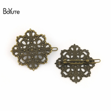 BoYuTe 10Pcs 42MM Filigree Flower Hair Clips Pins 6 Colors Plated Vintage Women Hair Decoration Accesories(China)