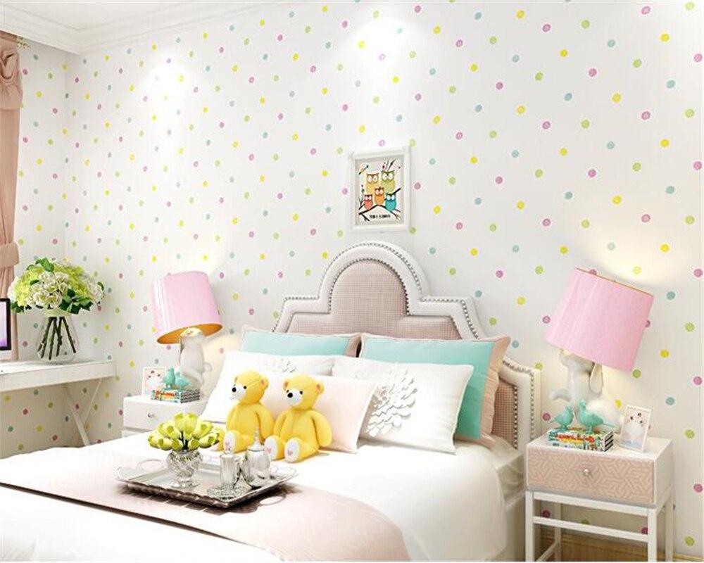 beibehang Green Nonwovens Boys Girls papel de parede 3d Wallpaper Kids Room Bedroom Wallpaper Warm Cartoon Color Circle Point <br>