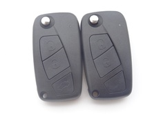 Black color Flip Remote Key Shell fit for FIAT Punto Ducato Panda Flip Case Blue 2 buttons and 3 buttons uncut blade  1pc