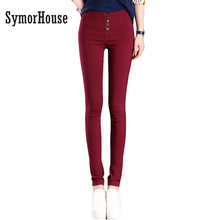 Summer Autumn Elegant Women Pants OL Slim Stretch Buttons Pencil Pants Casual Trousers Leggings Female Bottoms Plus Size S-3XL