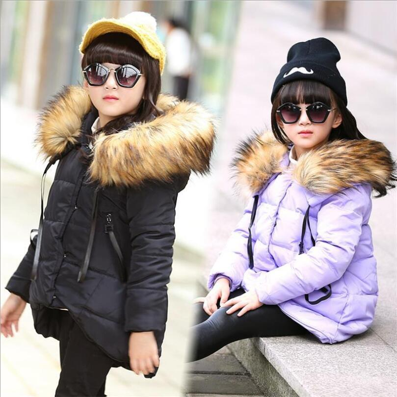 Turn-down Collar Girls Winter Coat Irregular Thicker Down Jacket For Girls Solid Color Doudoune Fille Cotton Children ClothingОдежда и ак�е��уары<br><br><br>Aliexpress