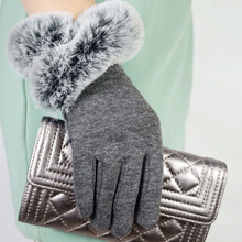 2016 New Arrival Rabbit Fur Warm Mittens Winter Gloves Women Elegant Gloves Full  Fingers  Fashion Warm Guantes