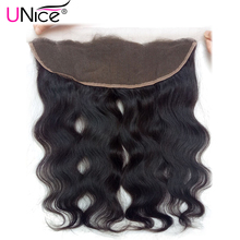 "UNice Hair Brazilian Body Wave Lace Frontal Free Part Ear to Ear Human Hair Lace Closure Size 13""x4"" Natural Non-Remy Hair"