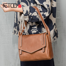 AETOO Women The new simple fashion leather handbags 3 color shoulder Messenger bag college wind leather small bag(China)