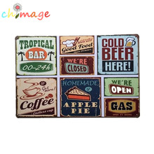 SIX IN ONE BEER OPEN CLOSE APPLE PIE COFFEE Vintage Tin Sign Bar pub home Wall Decor Retro Metal Art Poster(China)