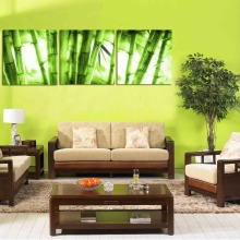 3 Pieces Bamboo Painting Fresh Green Picture Canvas Print Modern Artwork for Home Living Room Office Wall Decor